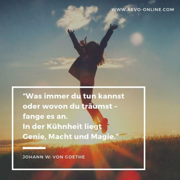 Was immer du tun kannst oder wovon du träumst – fange es an. In der Kühnheit liegt Genie, Macht und Magie.